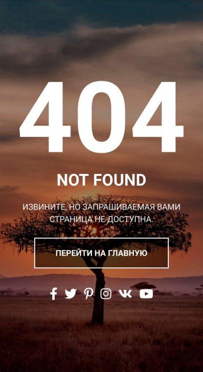HTML шаблон страницы 404 «Пустой мир» - Мобильная версия